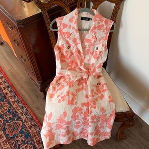 Teri Jon 100% Linen Pink & Ivory Floral Dress